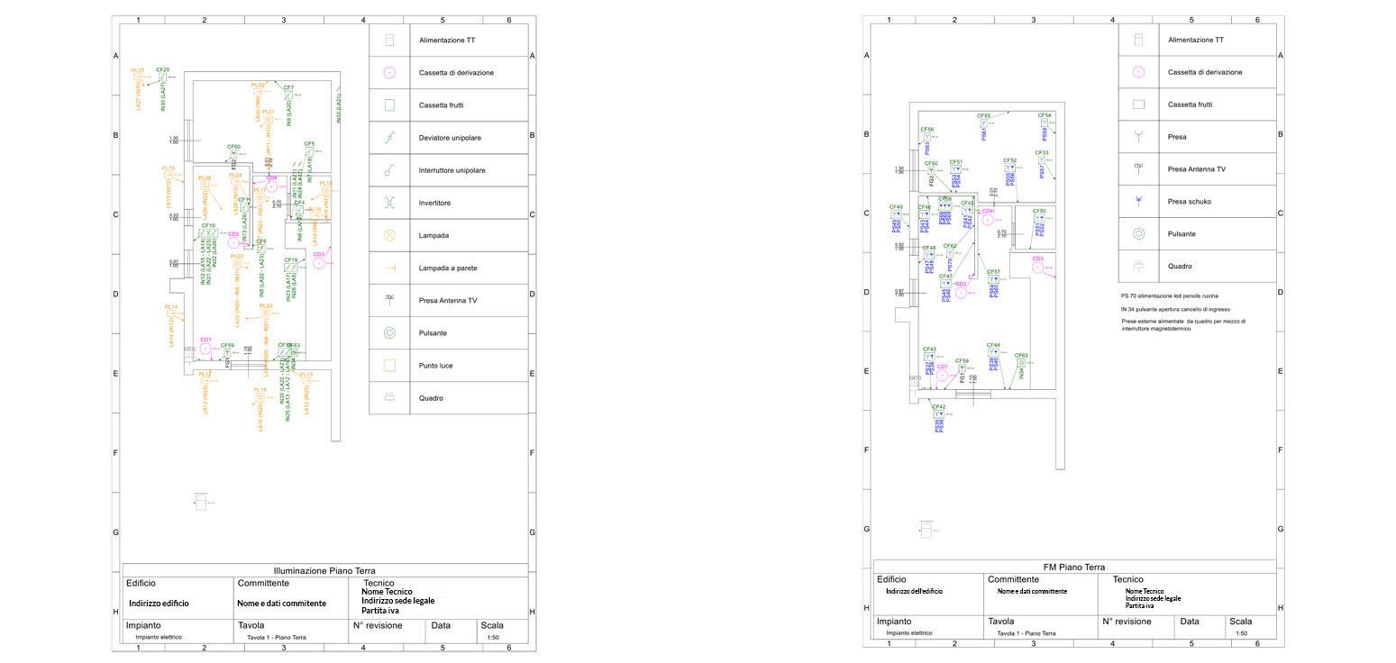 Esempi di schemi di impianto elettrico domestico FM e luci